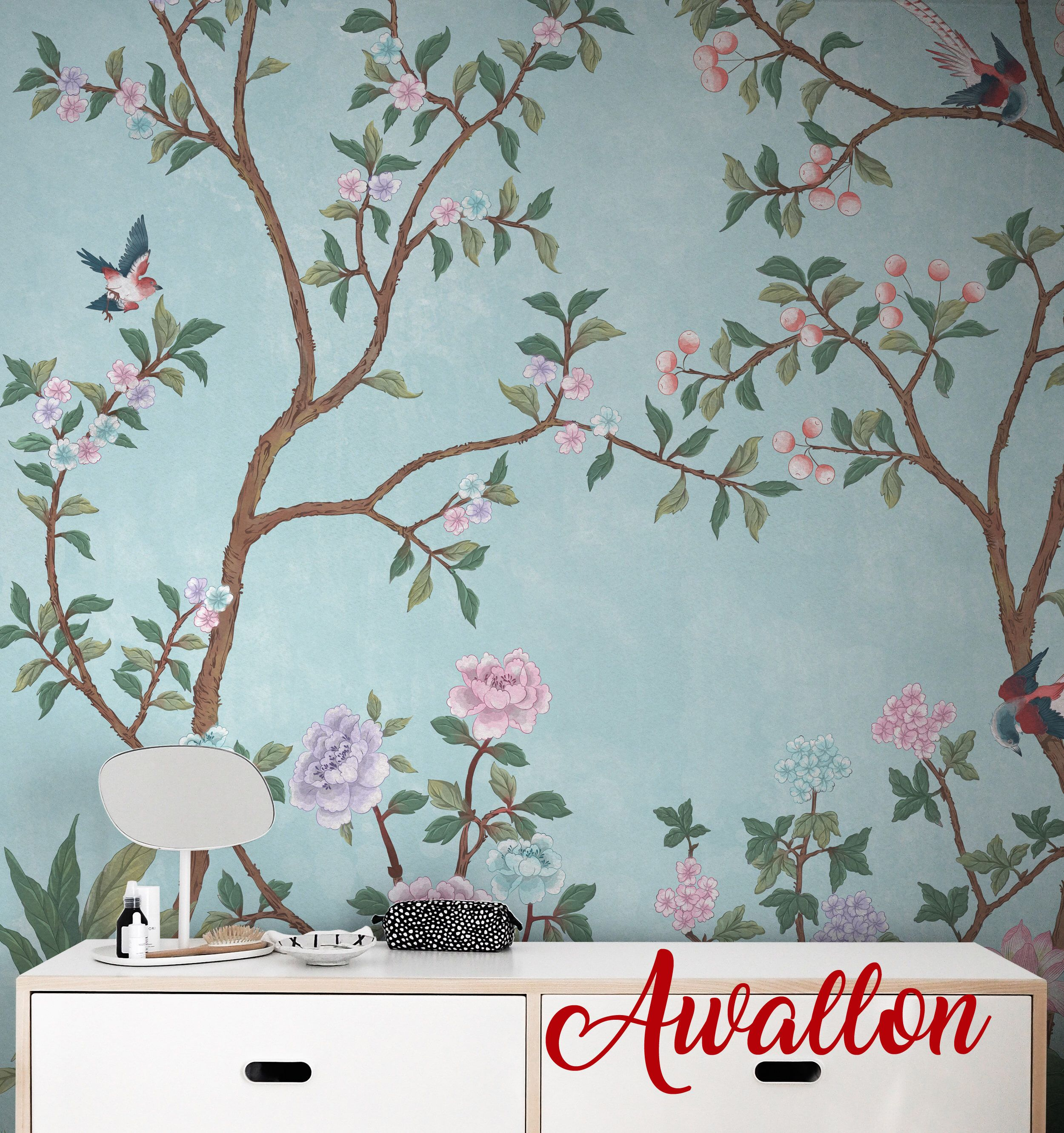 Vintage Chinoiserie Wallpaper Birds Wallpaper Easy Install And Removable Wallpaper