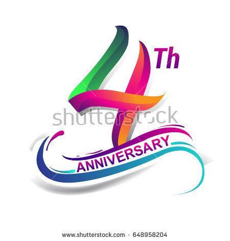 4th anniversary celebration logotype green and red colored four rh pinterest com birthday logo maker birthday logos free