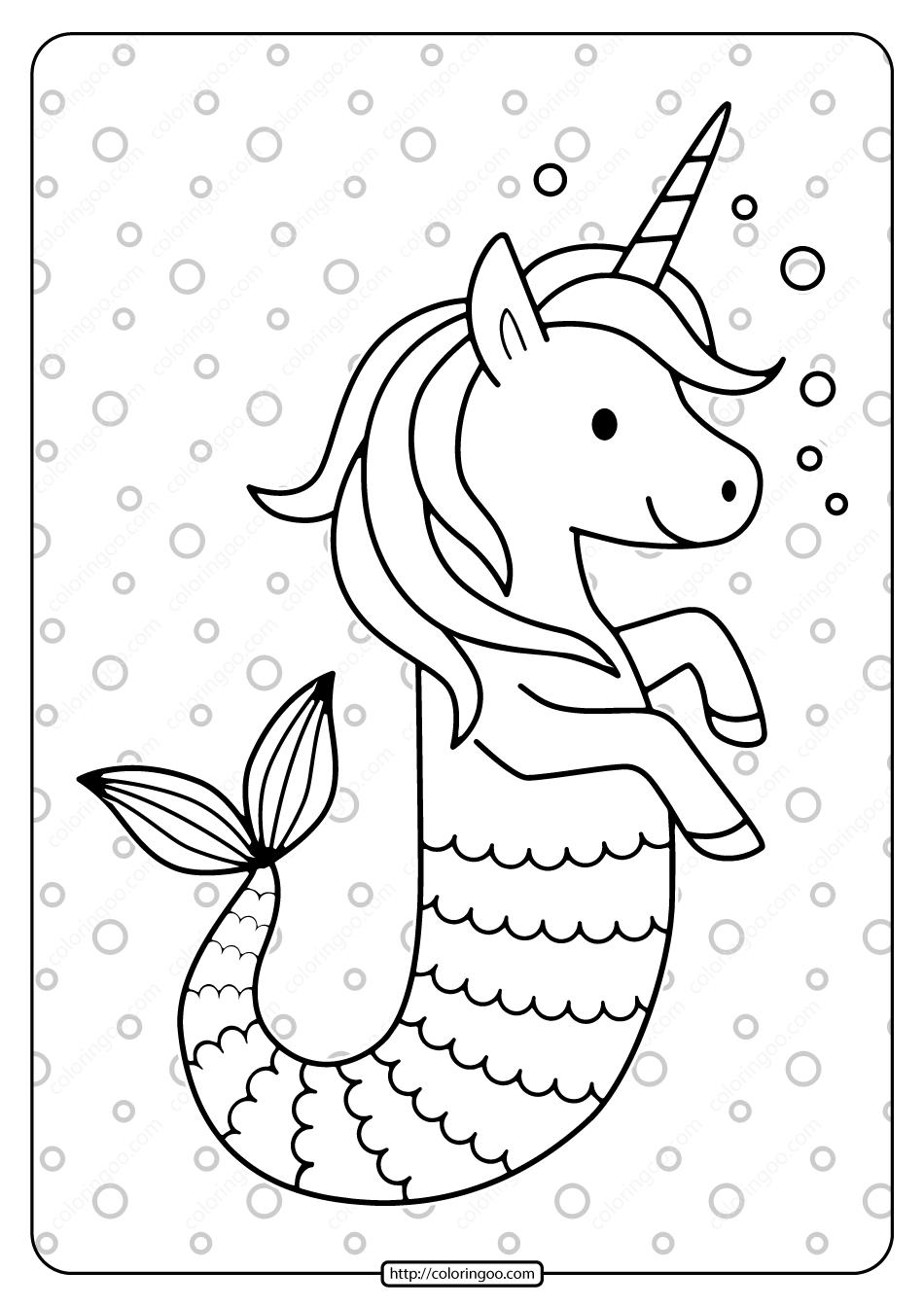 Free Printable Unicorn Seahorse Pdf Coloring Page. High quality