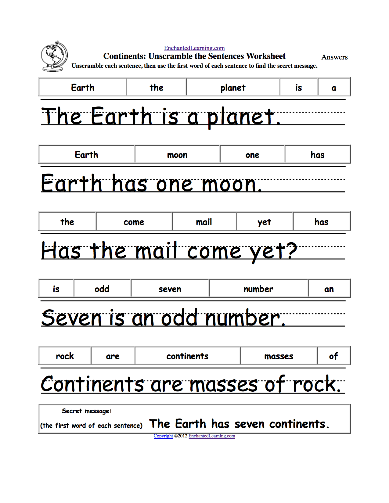 unscramble the sentences inference parts of speech earth day crafts arts ed  [ 1275 x 1649 Pixel ]