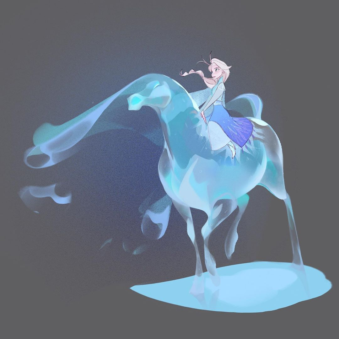 The Nokk And Elsa My Favourite Piece For The Movie Frozen2 Frozen Elsa Idinamenzel Disneyan Disney Concept Art Disney Princess Art Disney Art