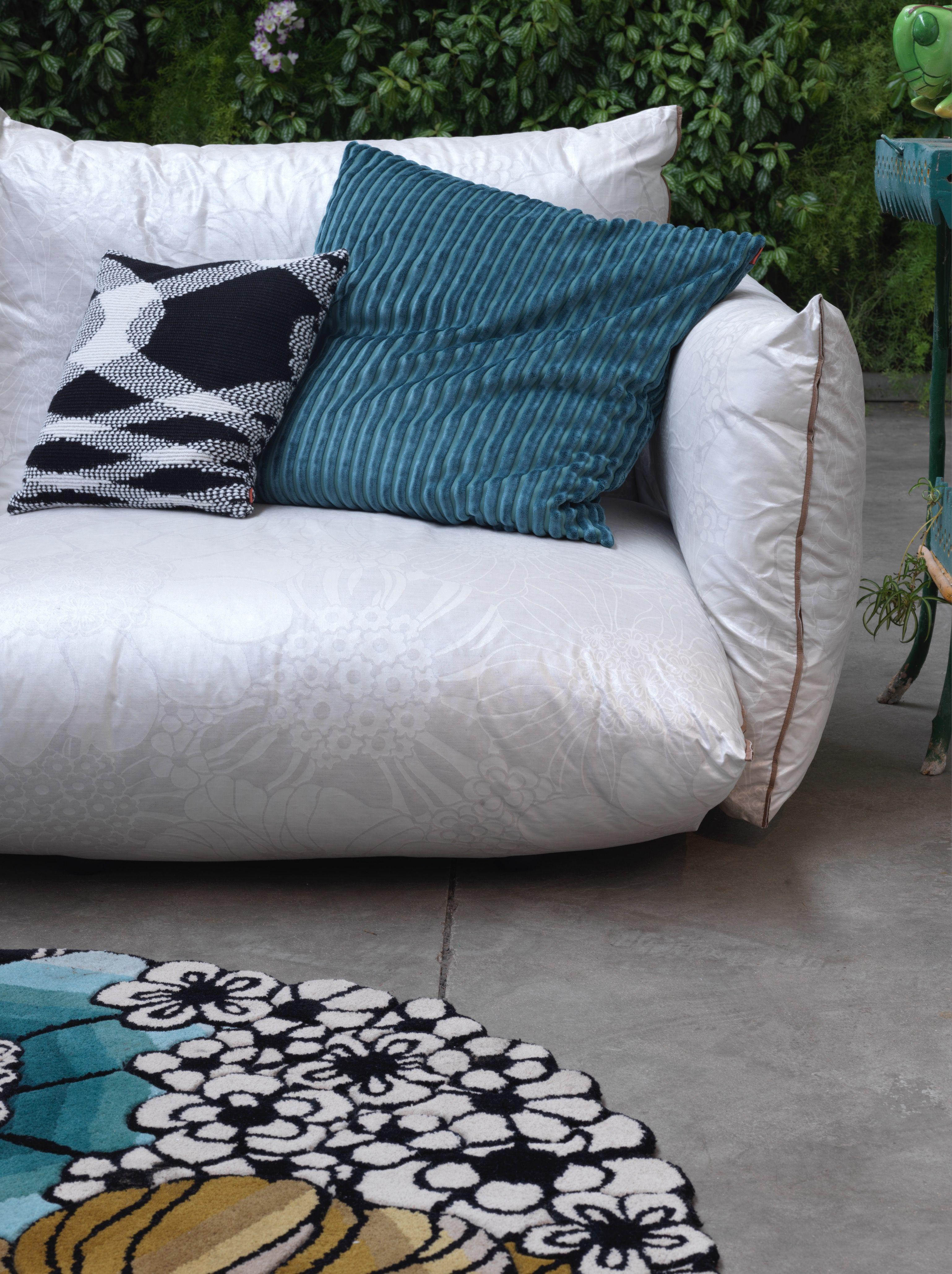 Top 4 sofa in tonal perlescent macro floral SABAH. SATURNIA rug ...
