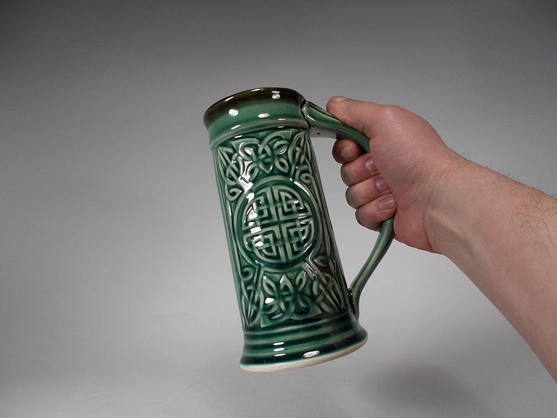 Celtic beer stein emerald green glaze 22oz food safe