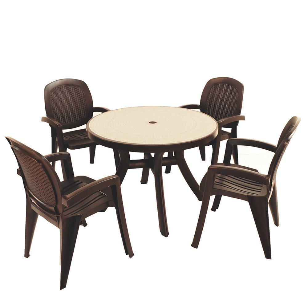 4 Seater Garden Dining Set Brown Weatherproof Plastic Patio