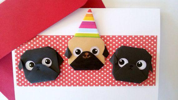 Cute origami handmade pug birthday card for girlfriend funny dog cute origami handmade pug birthday card for girlfriend funny dog greeting card black pug card bookmarktalkfo Image collections