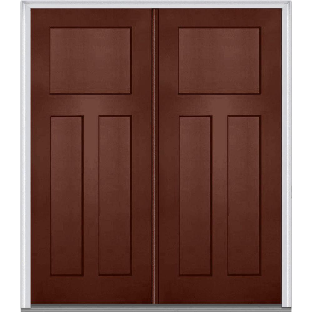 MMI Door 72 in. x 80 in. Left-Hand Inswing Craftsman 3-Panel Shaker ...