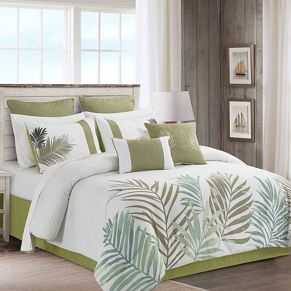Aleena 12 Piece Queen Comforter Set In Ivory Green Comforter