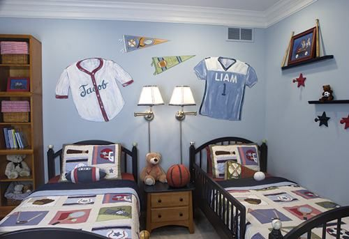 Amazing Twin Boys Room Sports Jersey Painting Decoration Ideas