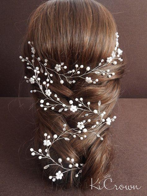 Lange Haarrebe Blumen lange Haarrebe Perle Braut Kopfschmuck Kristall Haarrebe Braut Haarrebe Haarteil Hochzeit Haarrebe Floral Kopfschmuck #bridalhairflowers