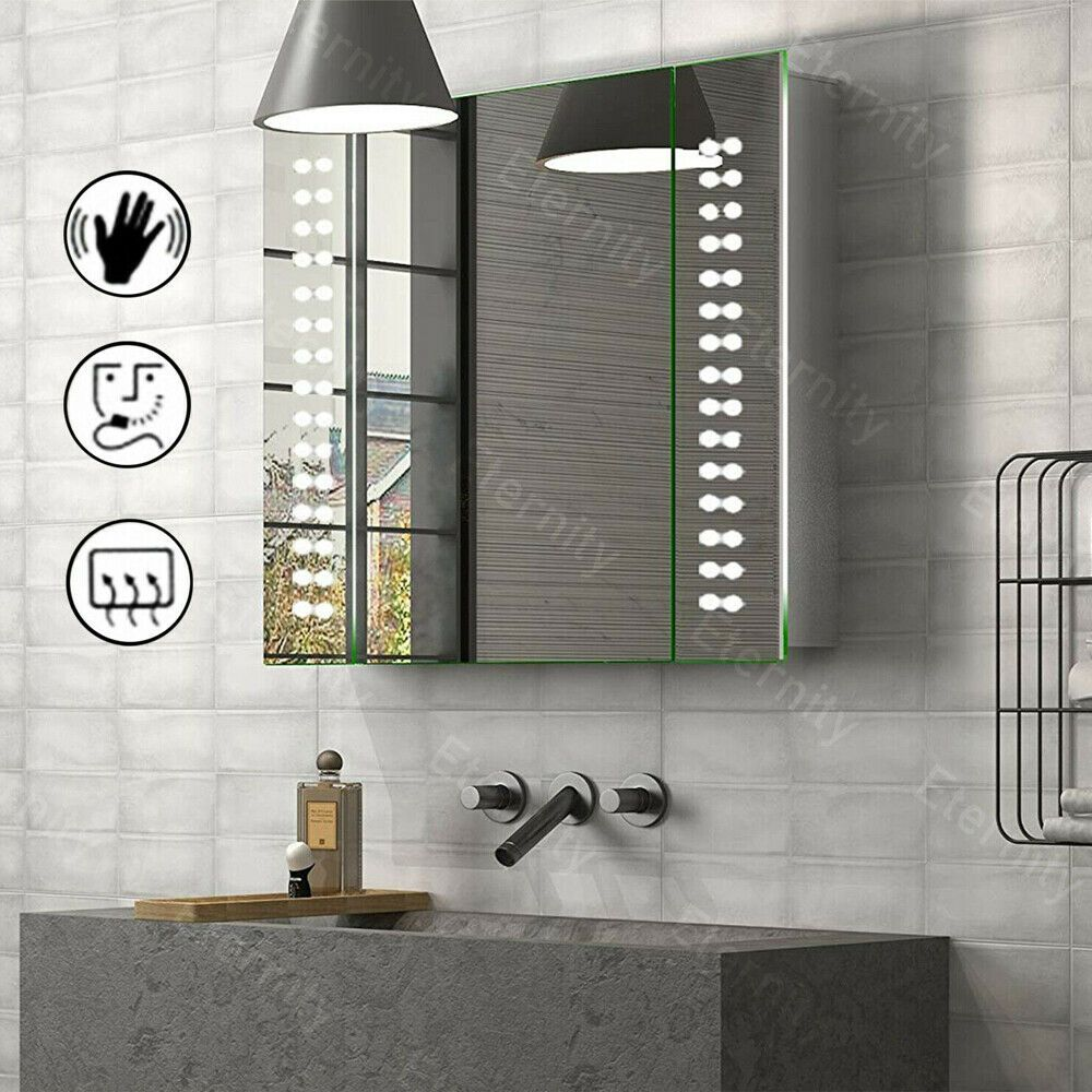 Led Illuminated Bathroom Mirror Cabinet With Shaver Socket Demister Touch Sensor Ebay Mirror Cabinets Illuminated Bathroom Cabinets Mirror Wall Bathroom