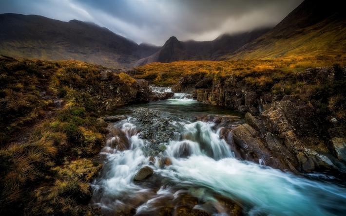 Download wallpapers cuillin cascade mountain landscape autumn mountain river fog highland - Highland park wallpaper ...