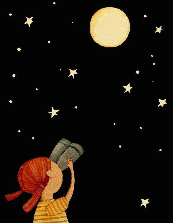 Luna Lunera Pinturas Cielo Dibujo Ilustraciones