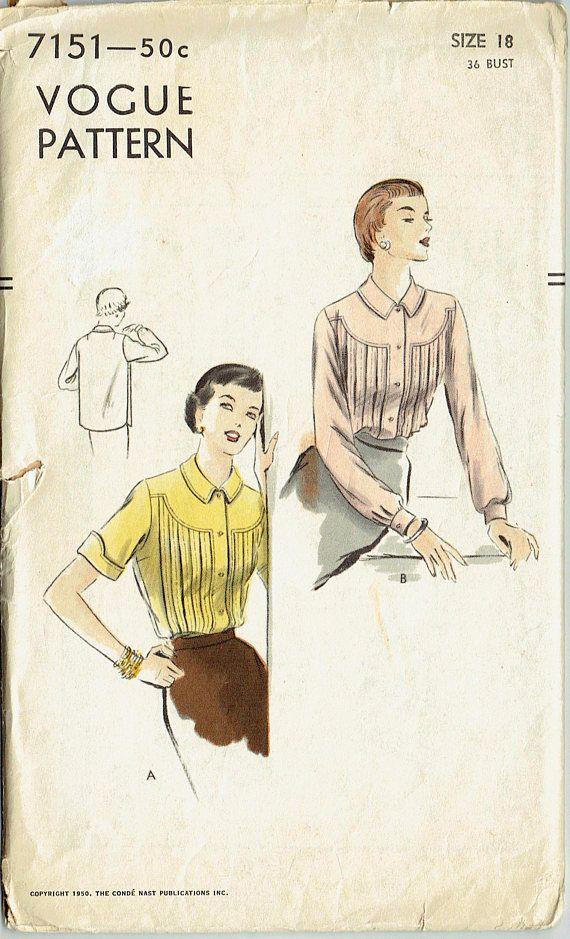 Vintage Sewing Pattern Vogue 7151 Ladies\' Blouse 36\