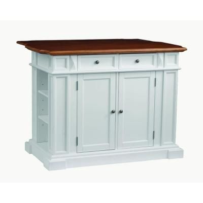 Home Styles Traditions Distressed Oak Drop Leaf Kitchen Island In White 5002 94 At The Depot