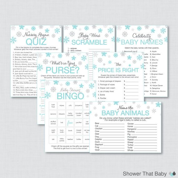 Winter Wonderland Baby Shower Games Package with Seven Printable Games - Winter Baby Shower, Blue Snowflake - Instant Download - 0004-B