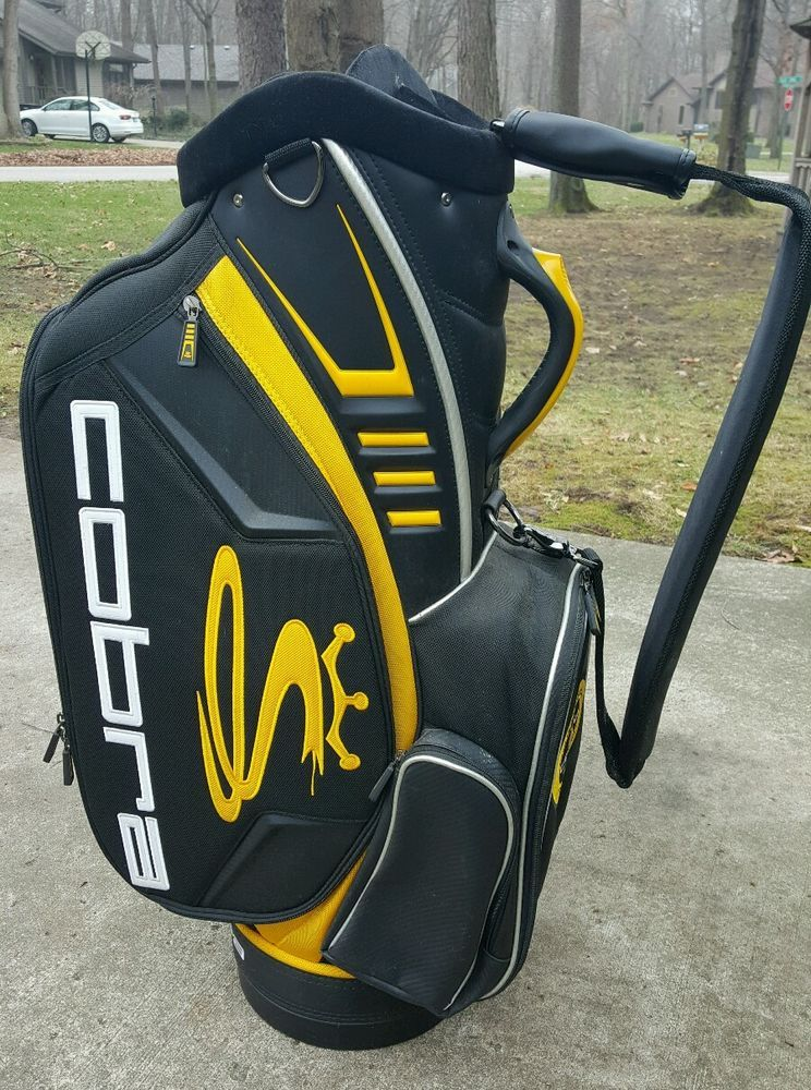Jumbo Cobra Custom Staff Golf Cart Club Bag Black Yellow 6 Way Divider Pga Tour