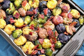 Bacon & Ranch Smashed Potatoes & Brussels Sprouts #smashedbrusselsprouts These crispy & flavorful Bacon & Ranch Smashed Potatoes & Brussels Sprouts will quickly become your new go-to side dish. #smashedbrusselsprouts