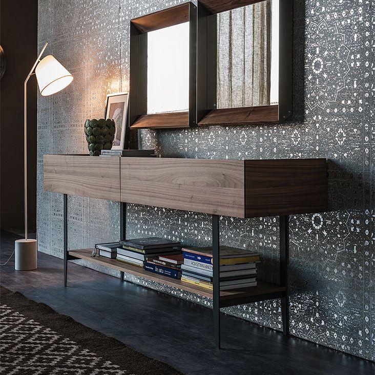 Porta Tv Cristallo Design.Horizon Madie Madia Consolle Porta Tv A 2 Cassetti In Noce