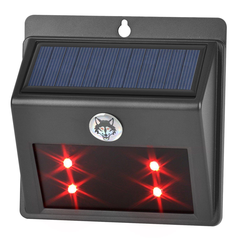 Solar Ed Led Animal Repeller Red Light Wall Lamp For Garden Pasture Fence