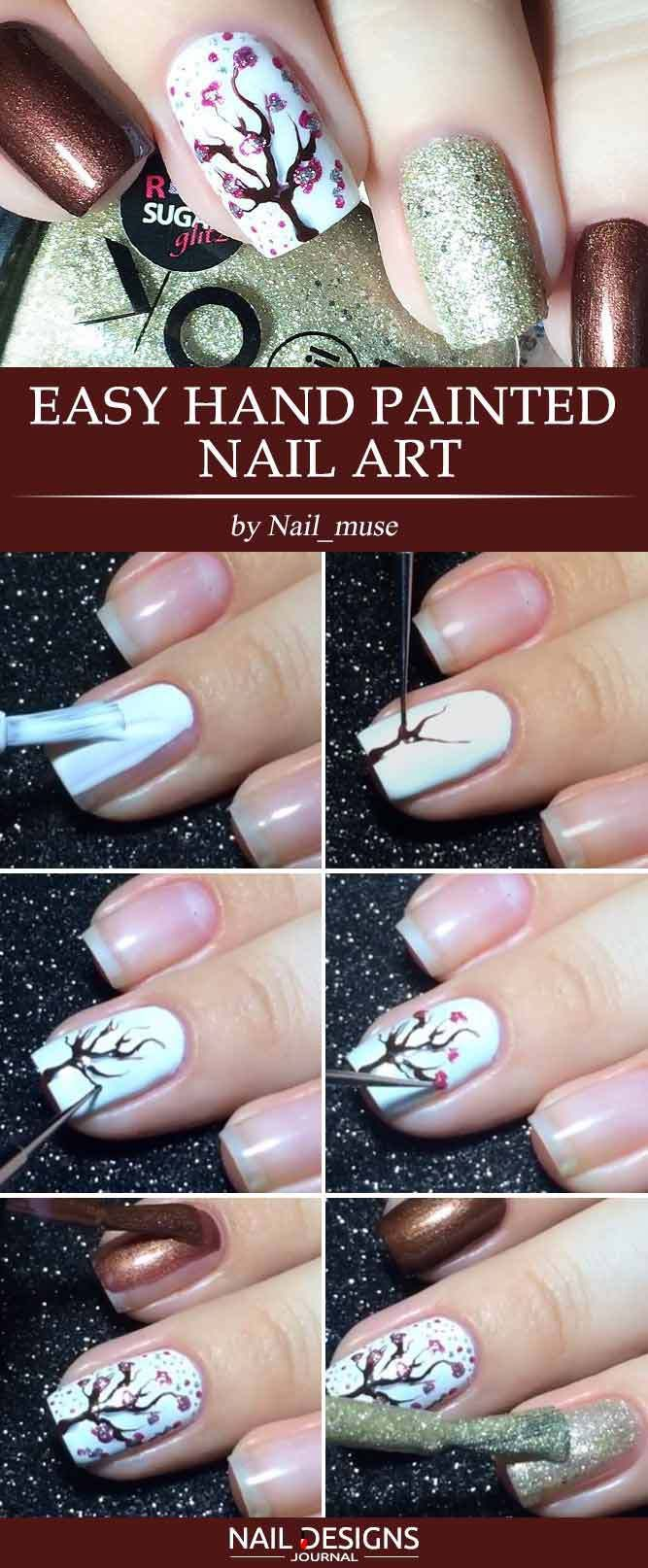 15 Super Easy Nail Designs Diy Tutorials 12 Easy Hand Painted Nail Art Nailart Naildesign N Nail Designs Easy Diy Simple Nail Designs Diy Nail Designs