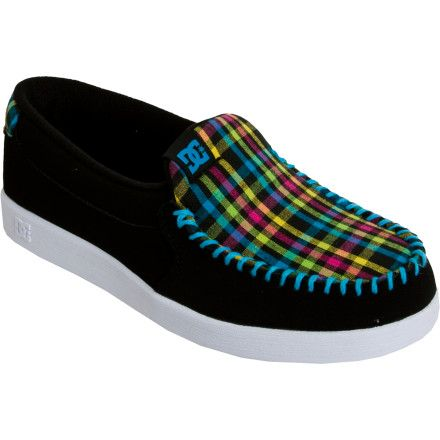 Black, and coloured, Dc loafers.   Dc