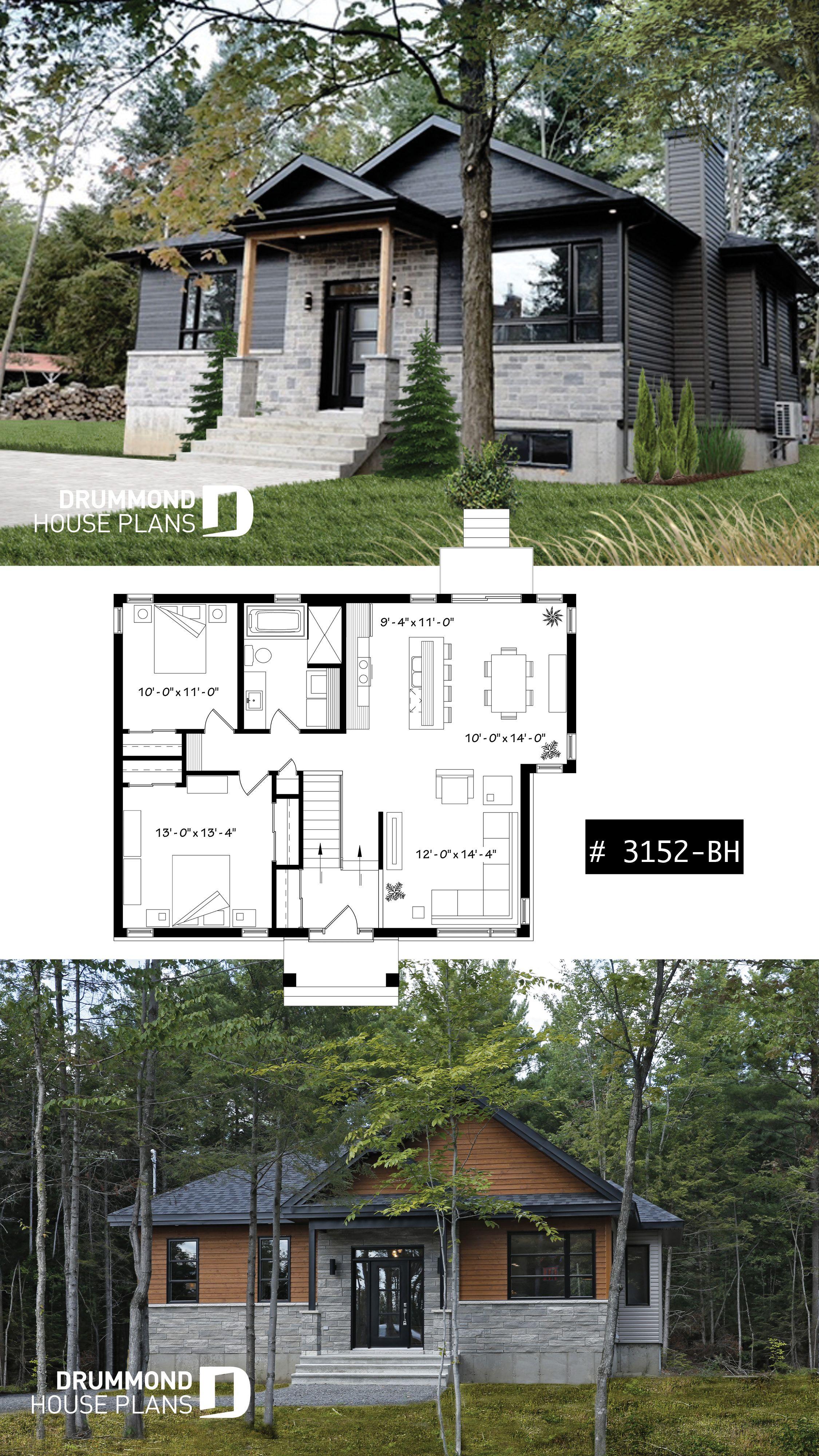 2 Bedroom Rustic Modern Home Plan Split Entry Large Kitchen Island Full Bathroom