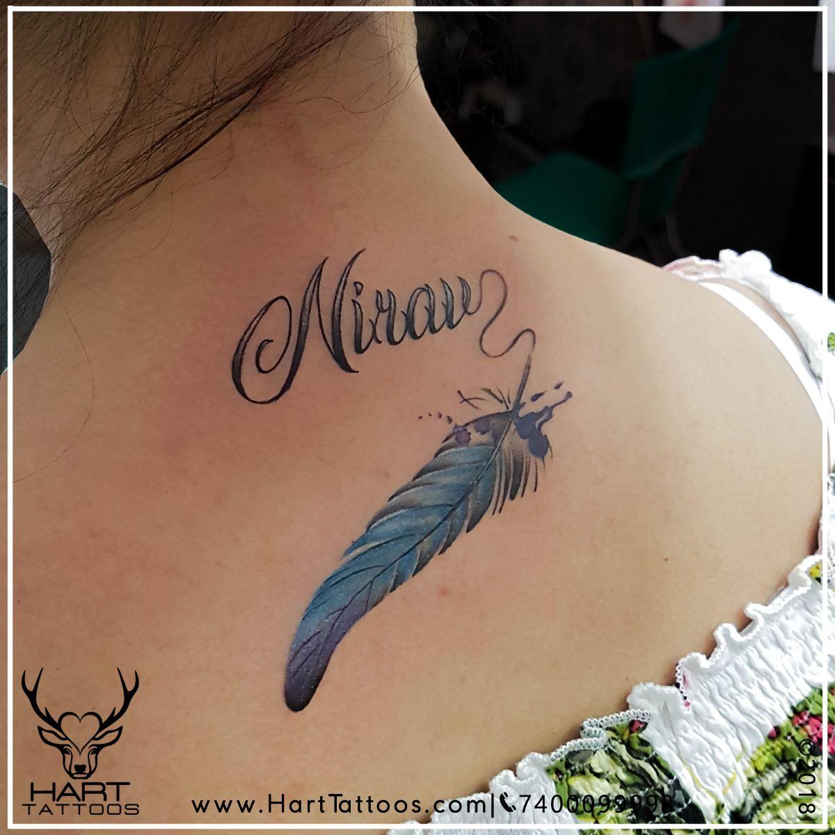 Neck Tattoo Name Tattoo Feather Tattoo Watercolour Tattoo