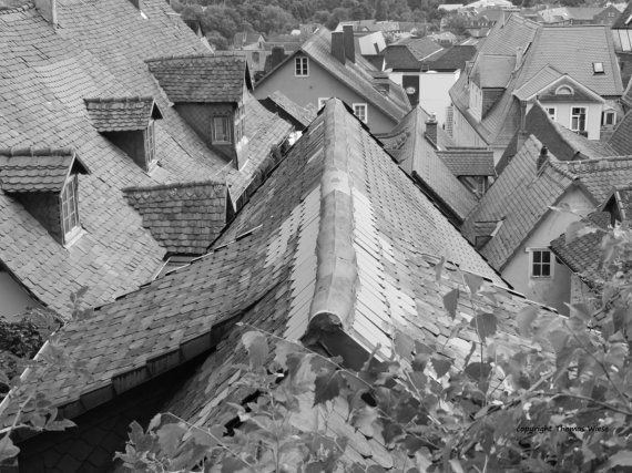 Fotografie, schwarz weiss, Über den Dächern von Marburg, hochglanz, Premiumpapier, signiert