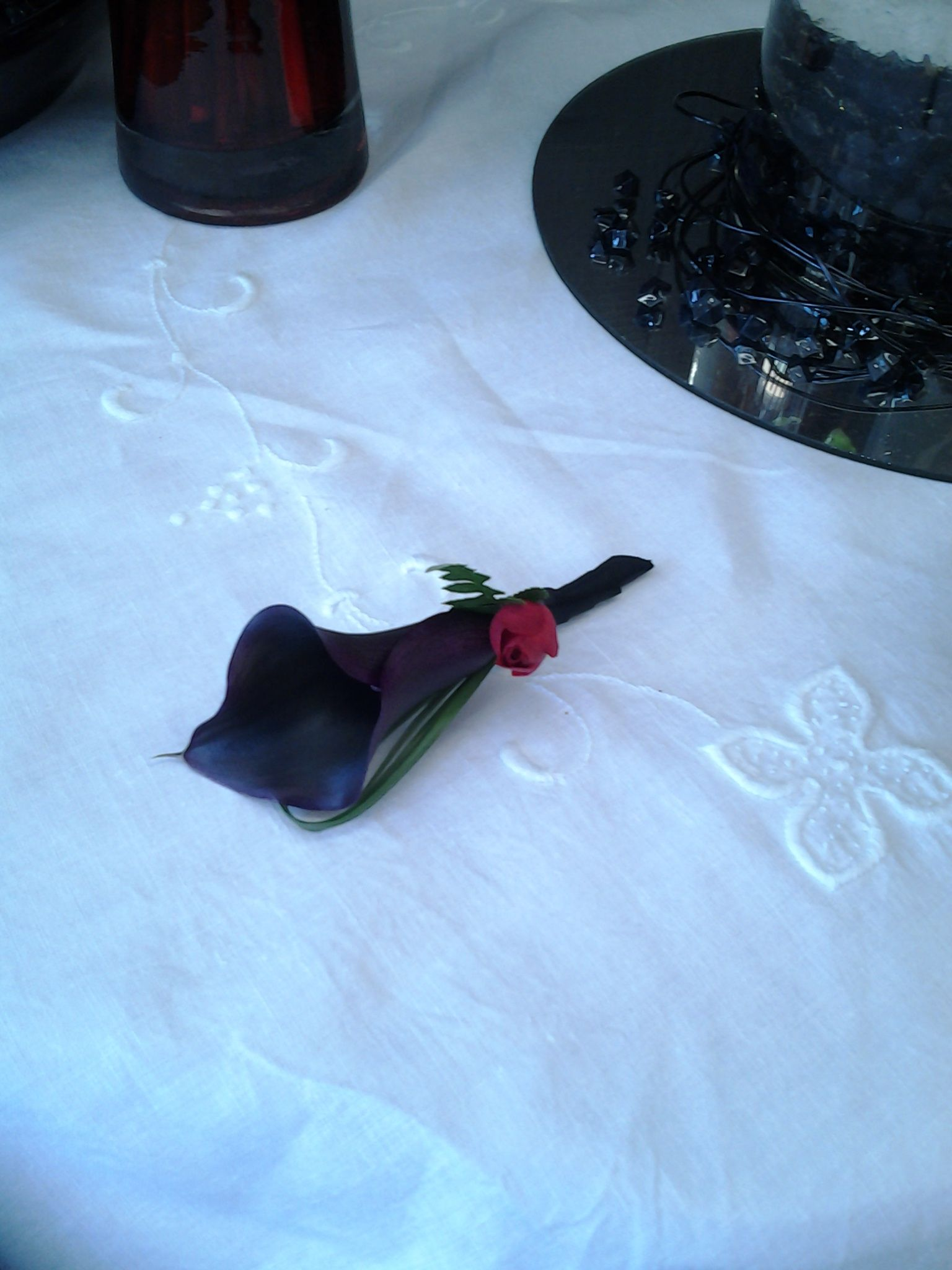 For the Groom, Black Calla with Mini Red Rose