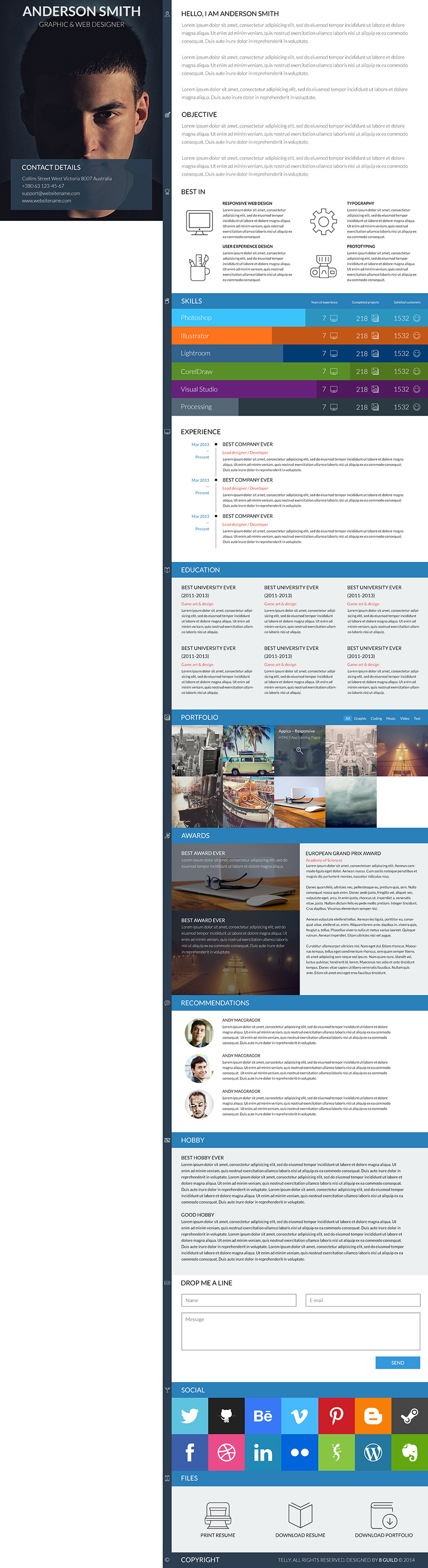 telly is professional html5 resume and portfolio