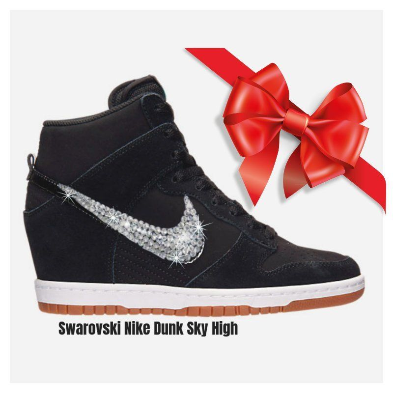 Swarovski Nike DUNK SKY High Women s Black Nike Sneakers High Top Custom  BLING Sparkly Nikes - SparkleBoutique2U by SparkleBoutique2U on Etsy d3588175e