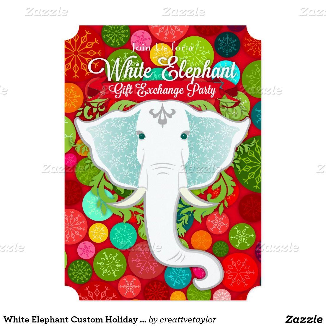 White Elephant Custom Holiday Party Invitations | Zazzler\'s ...