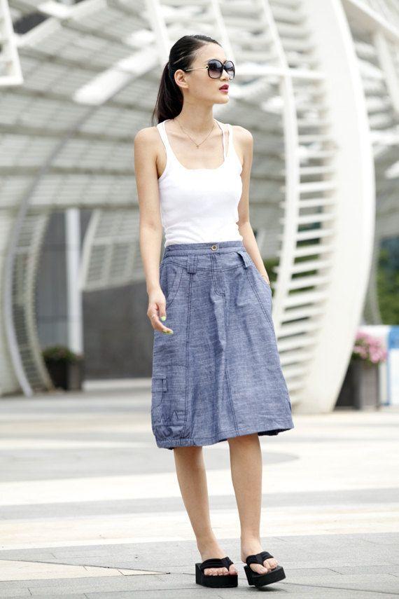 Graceful Bud Skirt Summer Skirt Linen Skirt in by Sophiaclothing