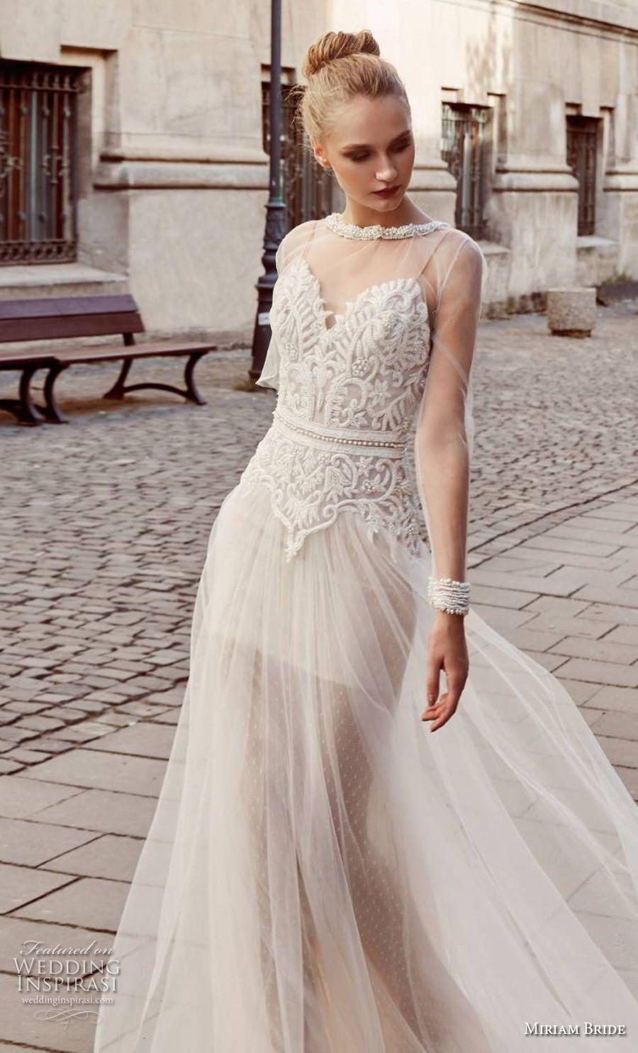 miriams Braut 2018 Braut lange Ärmel Illusion Juwel Schatz ...