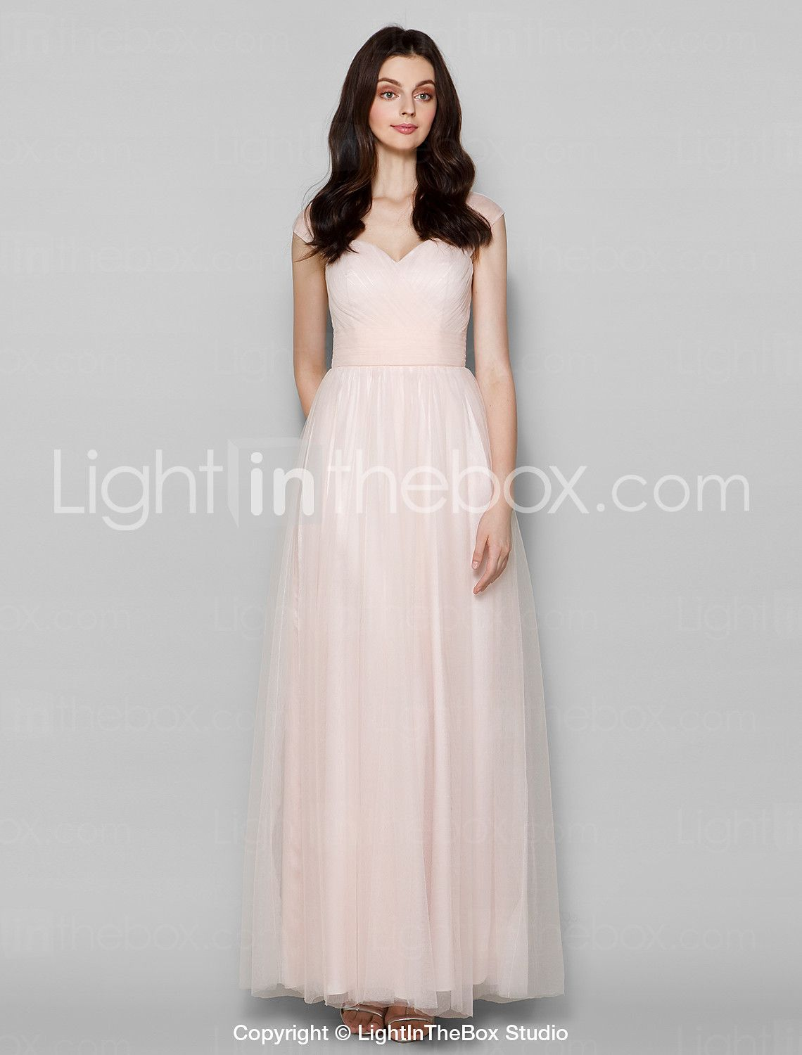 Lightinthebox wedding dresses  Sheath  Column Queen Anne Floor Length Tulle Bridesmaid Dress with