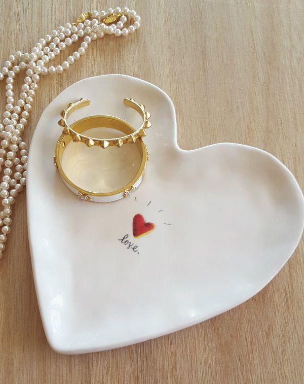Love heart shaped trinket tray an elegant ceramic tray for Heart shaped jewelry dish
