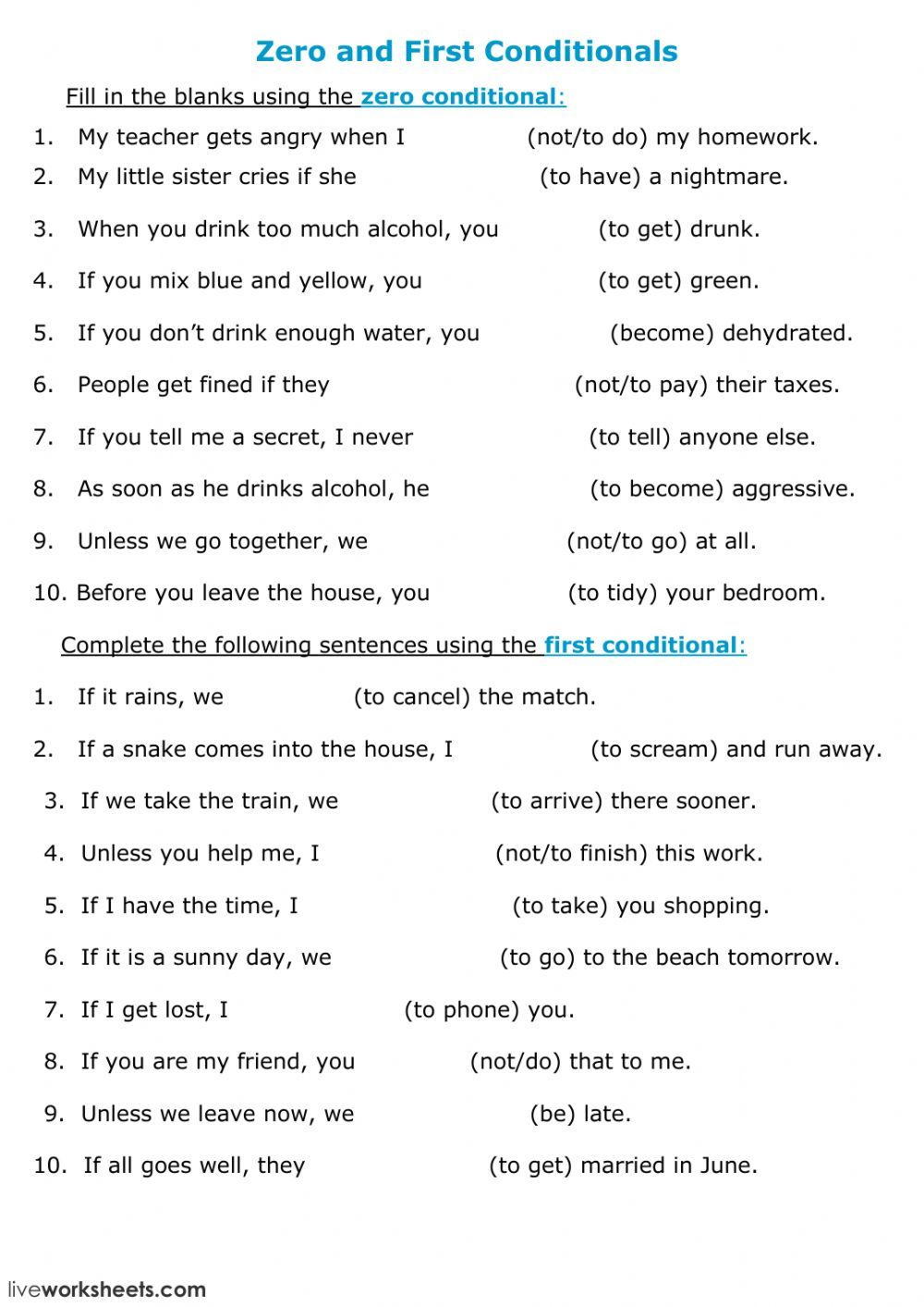 Conditional Sentences Interactive And Downloadable Worksheet You Can Do The Exercises Conditional Sentence English Teaching Resources Teaching English Grammar