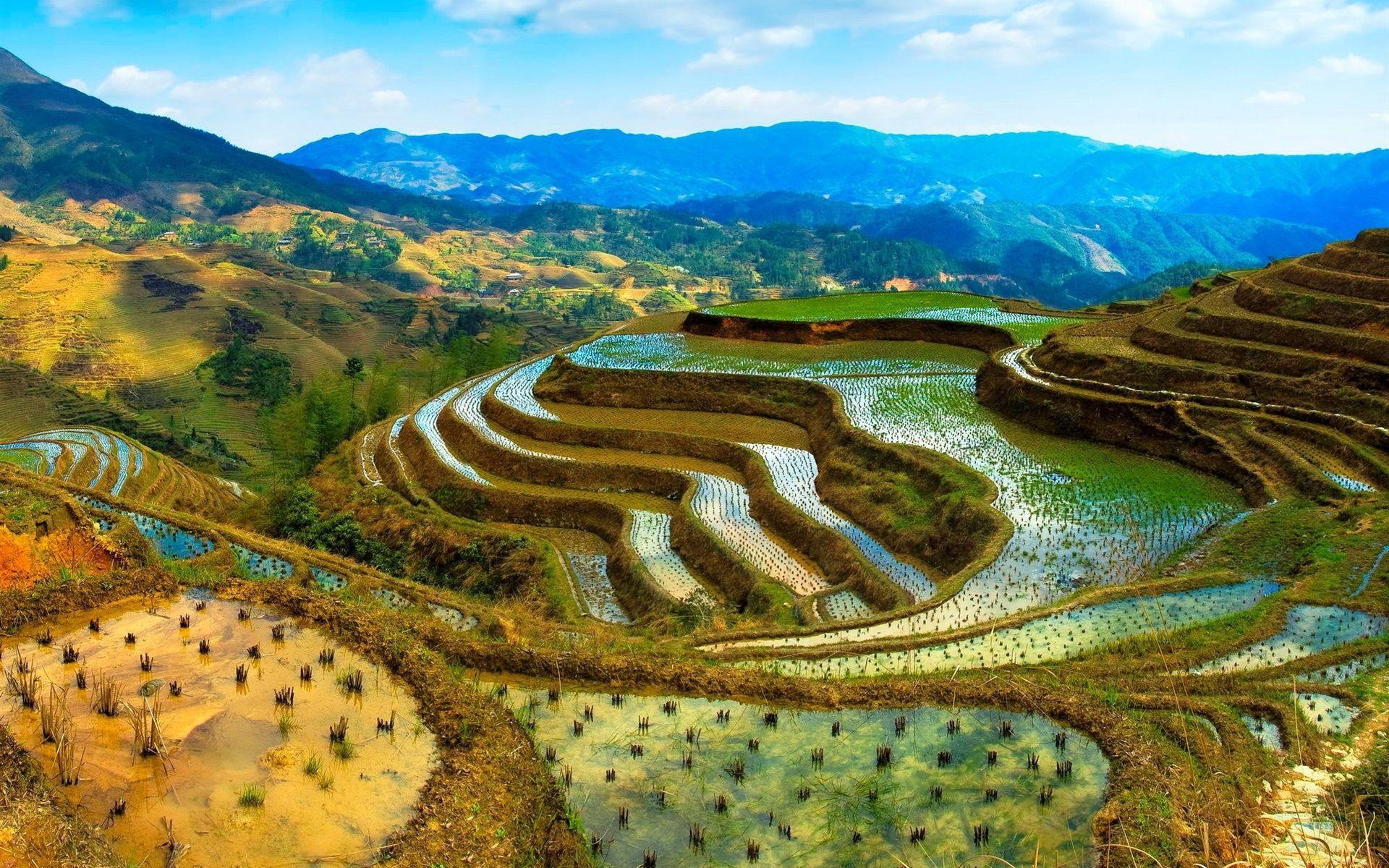China terrazas agua monta as hermosos paisajes fondos for Fondos de pantalla 7 maravillas del mundo