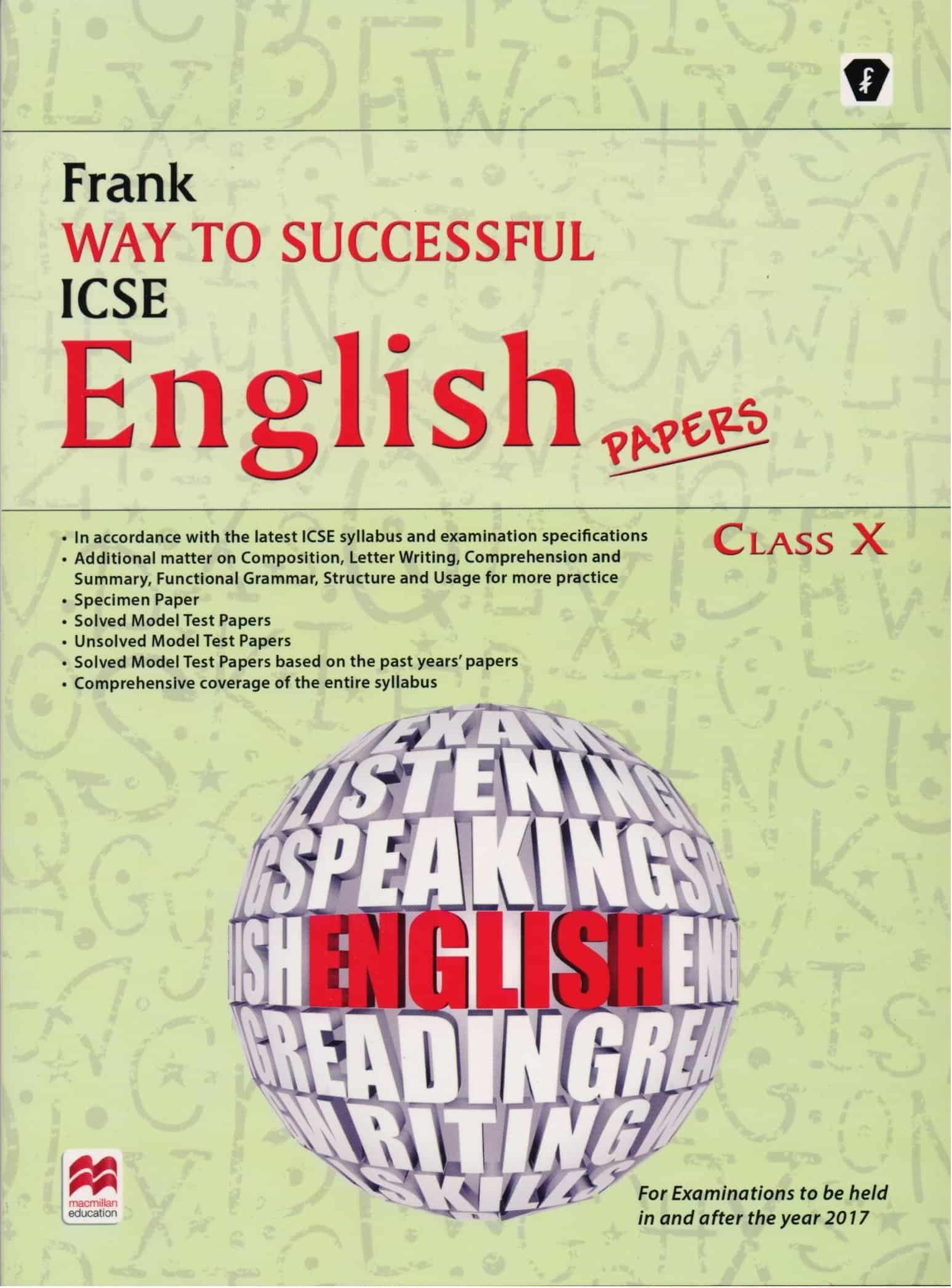 Frank Way To Successful Icse English Papers Class 10 Education
