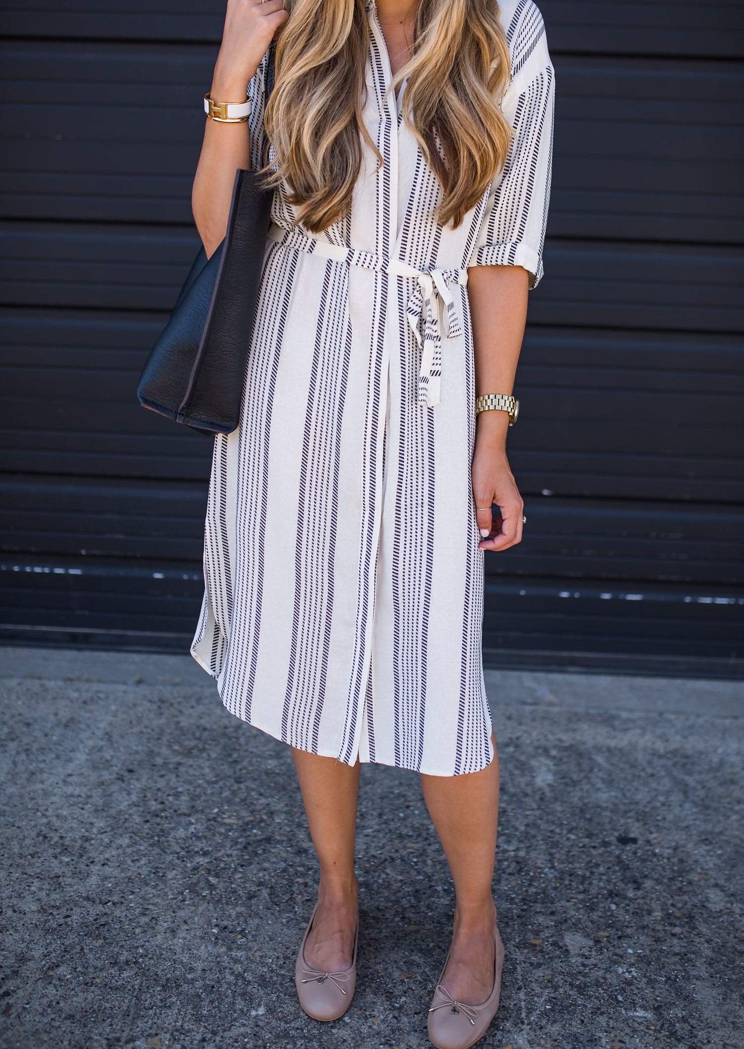 945bd74bc0c Striped dress with flats for work