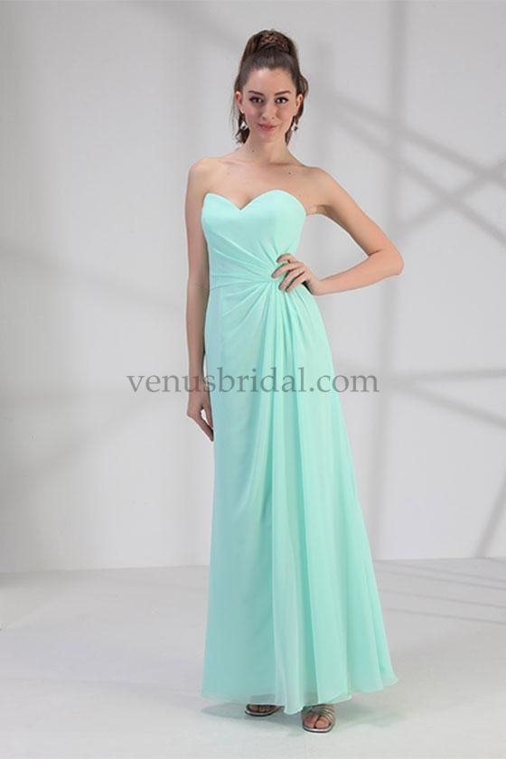 2015 A Line Chiffon Lace Up Floor Length Pleat Mint Sleeveless Sweetheart Bridesmaid Prom Dresses By Bella 1686