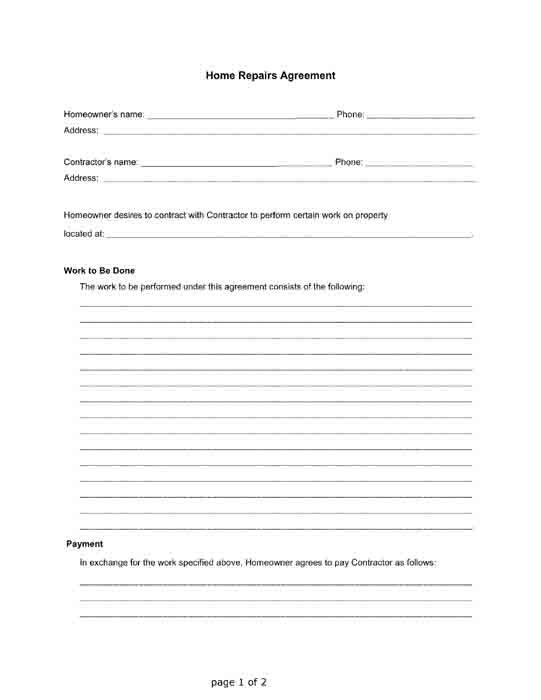 Home Repairs Agreement between a Homeowner and a Contractor Free - loan agreement form