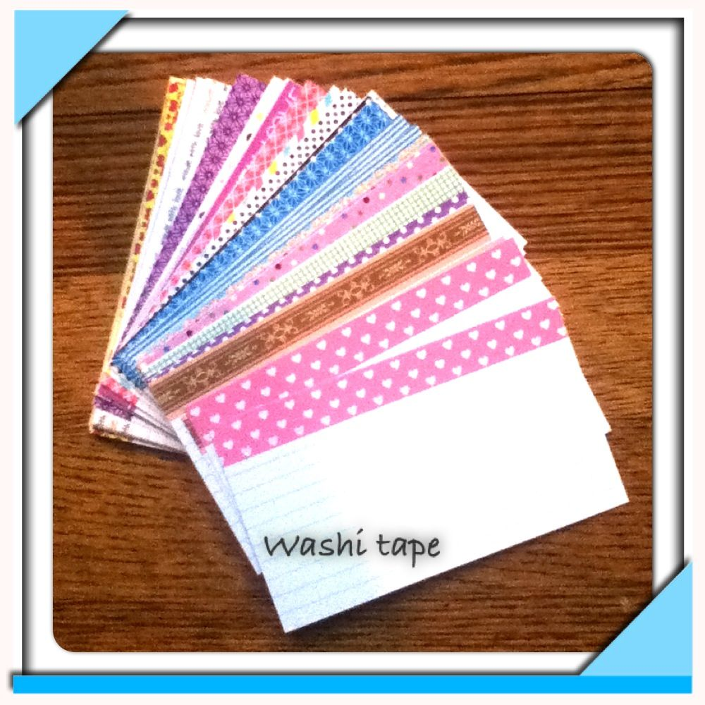 Boring Index Cards Washi Tape Cute For Notes And Lists Try With Colored Note Cards Punch Put On A Ring Washi Tape Crafts Washi Tape Projects Cards