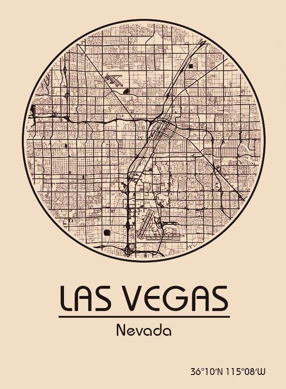 Karte / Map ~ Las Vegas, Nevada - Vereinigte Staaten von Amerika ...