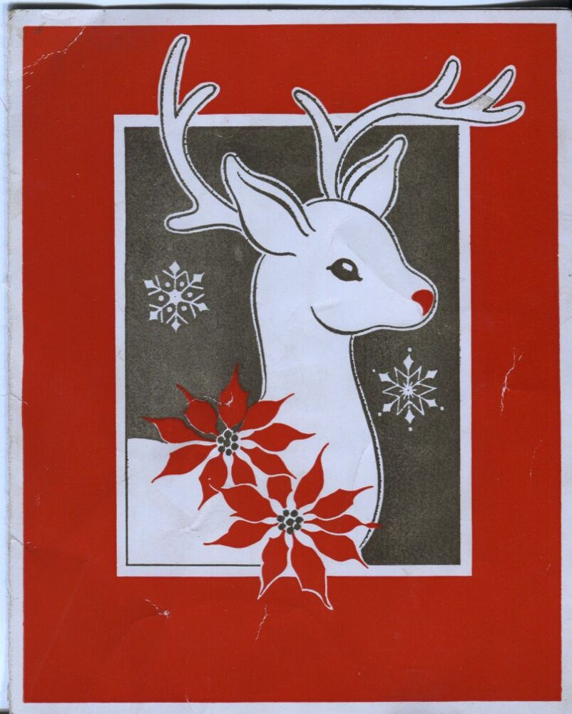 Vintage Christmas Card -  Reindeer with Poinsettias