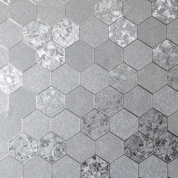 Foil Honeycomb Wallpaper Silver Arthouse 294700