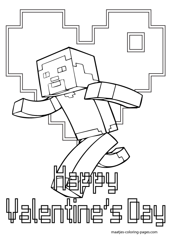 More Minecraft Valentine S Day Coloring Pages On Maatjes Coloring Pages Com Minecraft Valentines Valentines Day Coloring Page Valentines Day Coloring