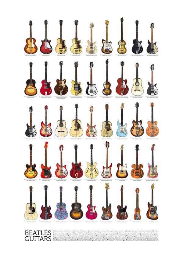 beatles guitars all of them by danilo agutoli via behance music in 2019 beatles guitar. Black Bedroom Furniture Sets. Home Design Ideas