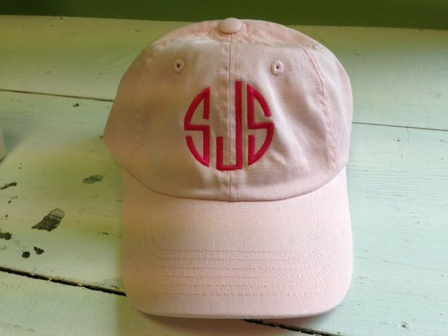 Monogrammed Baseball Hat - Cap from The Palm Gifts. High Quality Monogrammed Cap features buckle and grommet closure. Classic and Stylish for everyday or GAMEDAY!