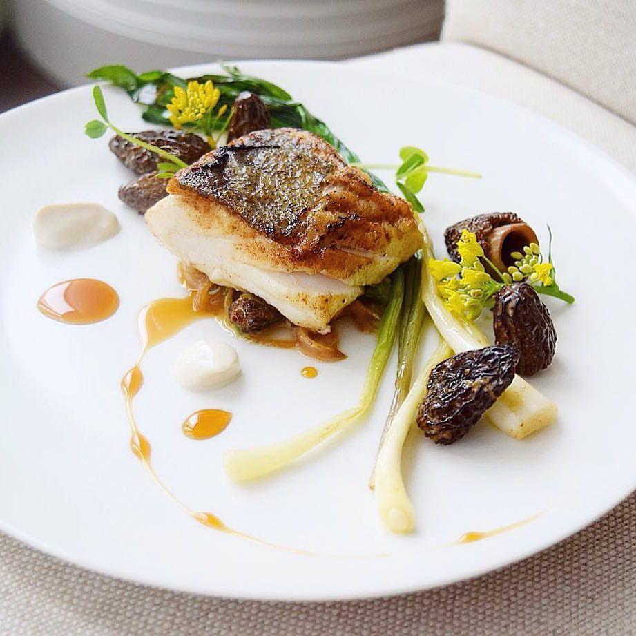 Linking the Culinary WorldさんはInstagramを利用しています:「Pepper pan fried sea salt cod on morel. ramp. rapini. spring Vidalia ragu ...
